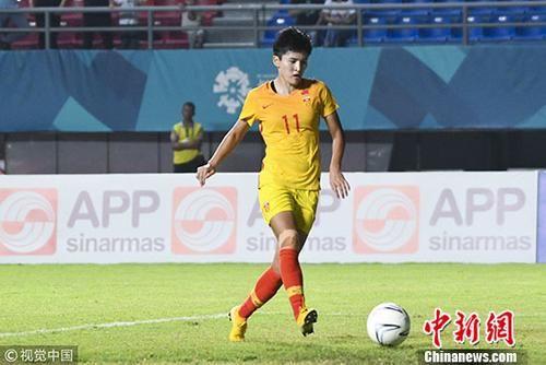 图为中国女足选手王珊珊。 图片来源:视觉中国