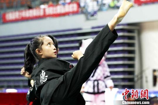 图为青海一家跆拳道场选手展示跆拳道文化。 张添福 摄
