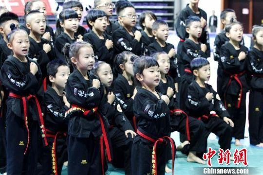 图为青海一家跆拳道场青少年选手展示跆拳道文化。 张添福 摄
