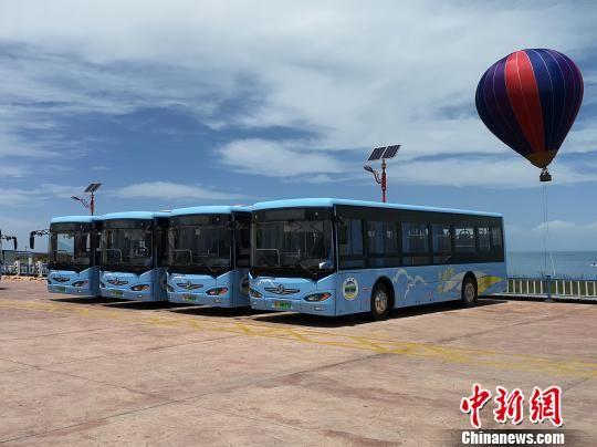 图为青海湖二郎剑景区投入的新能源大巴车。 罗云鹏 摄