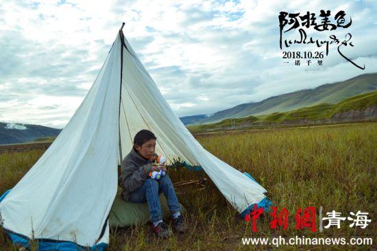 男孩在帐篷里