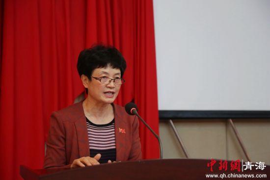 图为中共海东市委常委、宣传部部长任瑞翔致辞。 张添福摄