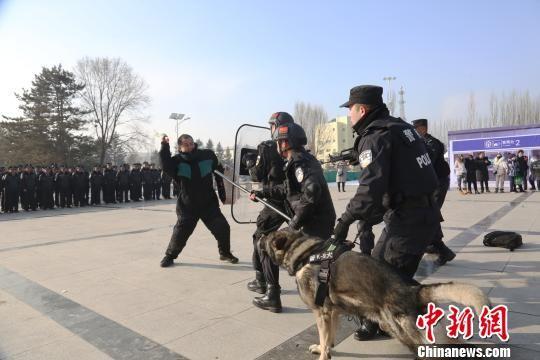 """1月9日,青藏铁路公安局西宁铁路公安处举行代号""""霹雳2019-I""""反恐应急处置模拟演练。图为模拟演练现场。 罗云鹏 摄"""