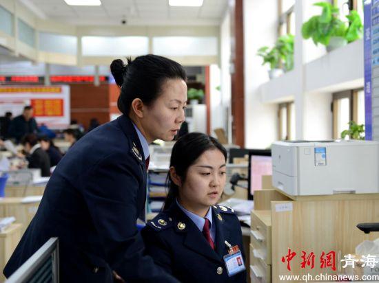 图为税务部门工作人员为民众服务。西宁市税务局供图