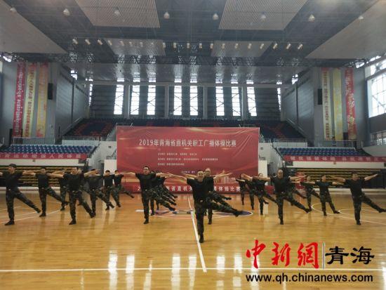 图为2019年青海省直机关职工广播体操比赛现场。张海雯摄