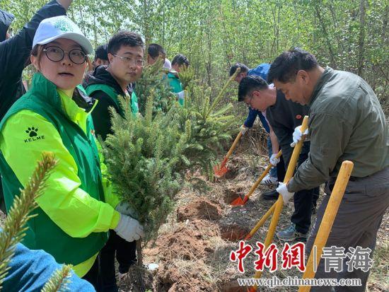 图3为志愿者与嘉宾一同植树。 孙睿摄