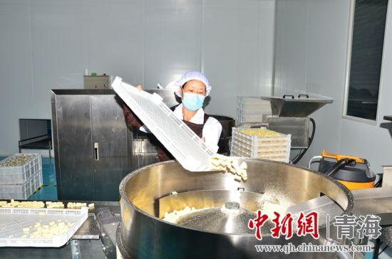 图为青海省海东市平安区三合镇扶贫产业示范园内的员工正在制作牦牛乳酪。 鲁丹阳摄